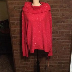 NWT RUBY RD RED SWEATER WITH SEQUINS  SZ XL